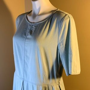 Gap blue chambray fit and flare dress